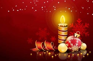 Picture of Christmas candle, bow, and ribbon